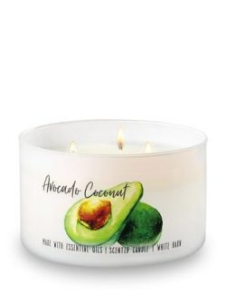 Bath and Body Works White Barn 3 Wick Large Low Profile Scented Candle Avocado Coconut 14.5 Ounc ...