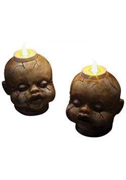 Morbid Enterprises Cracked Baby Doll Face Candle Holder Tealight Set Halloween Decoration