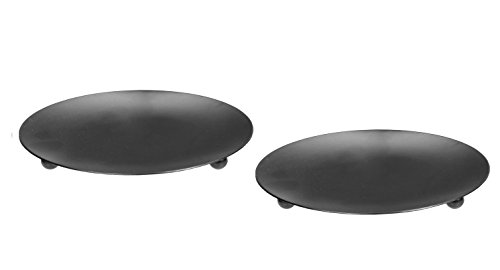 Hosley Set of 2 Black Iron Pillar Plates – 7″ Diameter. Ideal Gift for Wedding, Spec ...