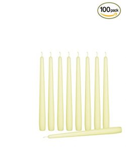 Ner Mitzvah 100 Pack Tall Taper Candles – 10 Inch Ivory Dripless, Unscented Dinner Candle  ...