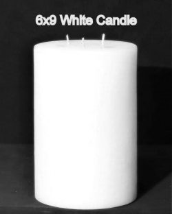 Pillar Candle – White, 6×9, Unscented, Hand Poured (3 wick)