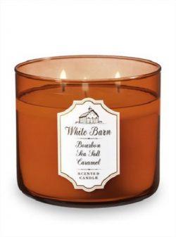 Bath and Body Works White Barn Candle 3 Wick 14.5 Ounce Bourbon Sea Salt Caramel
