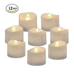 Flameless Candles AVEYLUM Bright LED Tea Light Candle Battery Powered Flickering Candle Set For  ...