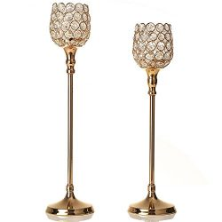 VINCIGANT Gold Crystal Tea Light Candle Holder/Pillar Candlesticks Set for Wedding Dining Table  ...