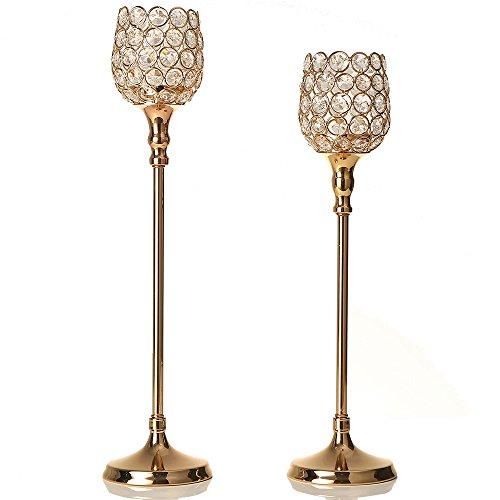 VINCIGANT Gold Crystal Tea Light Candle Holder/Pillar Candlesticks Set for Wedding Dining Table  ...