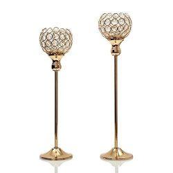 VINCIGANT Modern Gold Crystal Tea Light Stand Candle Cup Holder Pillar for Anniversary Celebrati ...