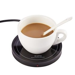 KieVie Electric Coffee Mug Warmer for Home/Office Use, Pyroceram Plate and Metal Shell, Waterpro ...