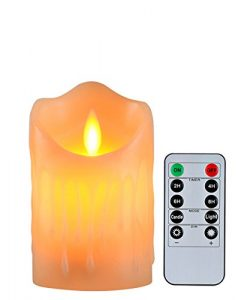 Flameless Candles with 10 Key Remote Timer Flickering Tear Wave Shaped Tealight Size 3″ 4& ...