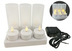 Exquisite Warm White 6 Rechargeable Flameless Electronic LED Tealight Candle With Frosted Holder ...