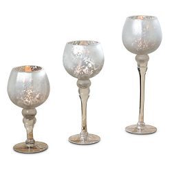 The Spectacular Cape Cod Long Stem Candle Holders, Set of 3, Silver Mercury Glass, Rippled, Prop ...