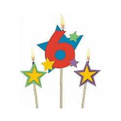 Party Time Stars and Number 6 Celebration Candle on a Stick, Pack of 3, Multi , 7″ Wax