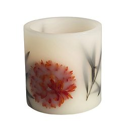 Gerson 4 by 4-Inch Flameless Embedded LED Candle with Black Leaf and Fall Flower