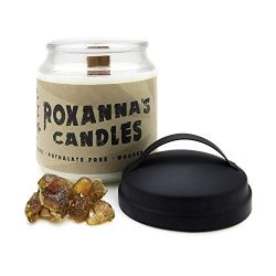 Frankincense & Myrrh Soy Candle with Crackling Wooden Wick | Handmade Artisan Scented Natura ...
