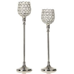 VINCIGANT Silver Crystal Candlesticks Set for Wedding/Holiday Anniversary Celebration Modern Dec ...