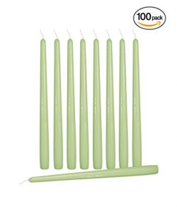 Ner Mitzvah 100 Pack Tall Taper Candles – 10 Inch Celery Green Dripless, Unscented Dinner  ...