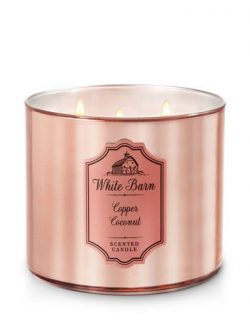 Bath and Body Works White Barn 3 Wick Scented Candle Copper Coconut with Essential Oils and Marb ...