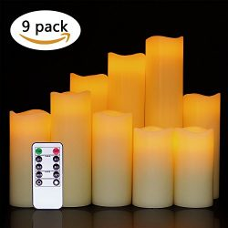 Eldnacele Flameless Candles Flickering Battery Operated Pillar Candles Set of 9 (D2.2 x H4 5R ...