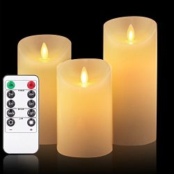 OShine Flameless Candles,LED Candles Set of 4 5″ 6″ H(3.15″ D) Flickering flam ...