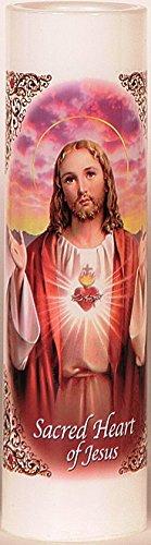 Sacred Heart of Jesus | Sagrado Corazon De Jesus | LED Flameless Prayer Candle with Automatic Ti ...