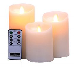 Flameless Candles 4″ 5″ 6″ Set of 3 Ivory Real Wax Pillars & Moving Flame  ...