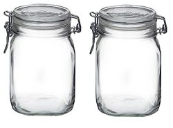Bormioli Rocco Fido Clear Glass Jar with 85 mm Gasket , 1 Liter (Pack of 2)