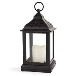 Bright Zeal Vintage Candle Lanterns with LED Flickering Flameless Candles (BLACK, 10″ TALL ...