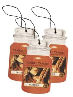 Yankee Candle Classic Paper Car Jar Hanging Odor Neutralizing Air Freshener, Leather Scent ̵ ...