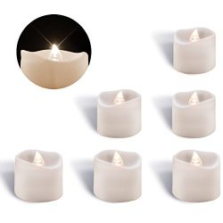 Homemory Flameless Flickering LED Tea Lights Battery Operated White Light Wave open Candles, Pac ...