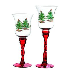 Spode Christmas Tree Glass Fluted Red Footed Candle Holders, Set of 2