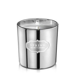 SPRING Scented Luxury Coconut wax Silver Candle Home Decor (Cylinder 8.5 oz, Secret Garder)