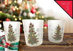 Banberry Designs Christmas Tree Candle Holder – Set of 3 – Frosted glass holder with ...