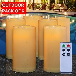 3″X6″ Outdoor Flameless Candle Bulk Include 6-Key Remote With 4/5/6/8-Hr Timer, Flic ...