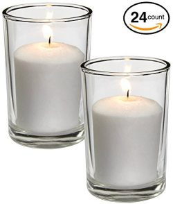 White Votive Candles – 24 Pack – Clear Glass Cups, Unscented, Extra Long 24 Hour Bur ...