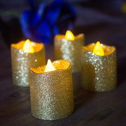 LOGUIDE Gold Glitter LED Votive Candles Flameless Tealight Battery Powered Candles For Wedding C ...