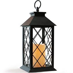 BRIGHT ZEAL BZ 14″ TALL Black Vintage Candle Lantern with LED Flickering Flameless Candles ...
