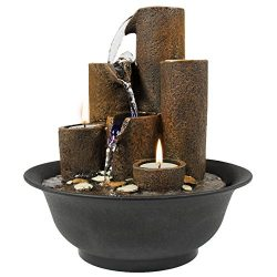 Brown Polyresin Tabletop Fountain Waterfall Mimics Rain Flowing w/ Candles & Built-In LED