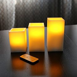 Akari Set of 3 Elegant Real Ivory Wax Square LED Flameless Candles with Remote 4″ 5″ ...