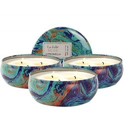 LA JOLIE MUSE Scented Citronella Candles Pack 3, Outdoor and Indoor, Natural Soy Wax Travel Tin  ...