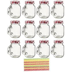 12-Pack Mason Jars – Clear Mini Mason Jar Set with Decorative Lids and Plastic Straws, Gla ...