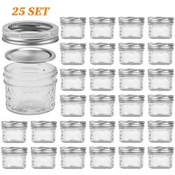 Glass Jars With Lids, VERONES Quilted Wide Mouth Crystal Jelly Glasses Set of 25 Silver(4oz), Ea ...
