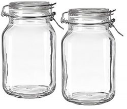 Bormioli Rocco Fido Clear Glass Jar with 85 mm Gasket, 1.5 Liter (Pack of 2)