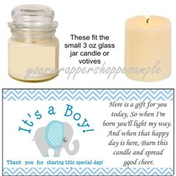 56 Blue & Grey Elephant Baby Shower Candle Party Favor Labels It's a Boy!