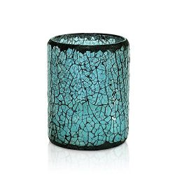 GiveU Blue Crack Mosaic Glass Flameless Pillar Led Wax Candle with Timer,3X4″, for Home De ...