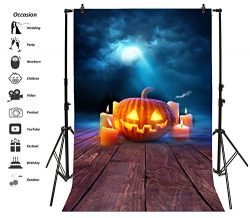 Leyiyi 3x5ft Photography Backdrop Happy Holloween Background Vintage Wooden Board Pumpkin Lamps  ...