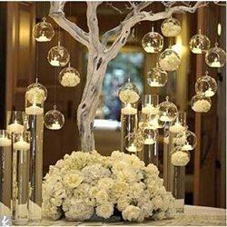 LANLONG 80MM Hanging Tealight Holder Glass Globes Terrarium Wedding Candle Holder Candlestick (1 ...