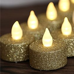 24pcs Gold Glitter Votive Tealight Led Flameless Candles Powered By Battery Lighting For Wedding ...