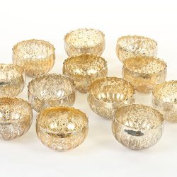 Koyal Wholesale Vintage Gold Floating Tealight Candle Holders, 12-Pack, Petite Glass Candle Hold ...