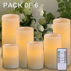 AMAGIC Set of 6 Battery Operated Candles White (H 4″ 5″ 6″ 7″ 8″  ...