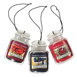Yankee Candle Car Jar Ultimate Hanging Air Freshener 3-Pack (Berrylicious, Black Cherry, and Red ...