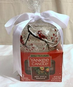 New Yankee Candle Winter Cardinal Design Tealight Holder and 12 Pack Red Apple Wreath Tealight C ...